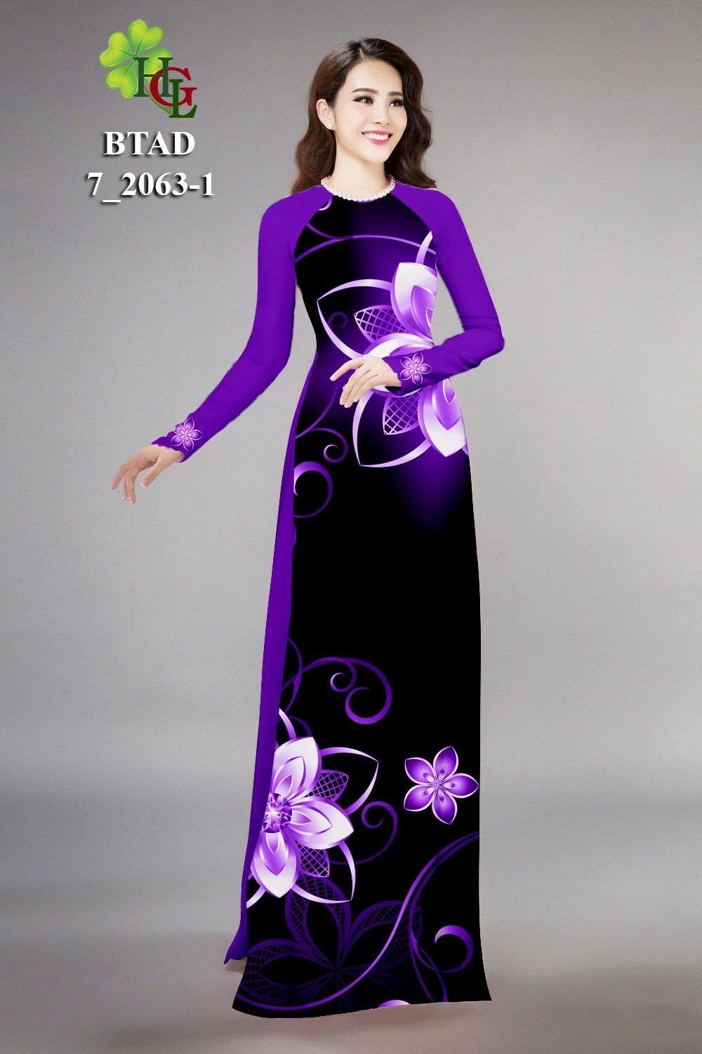 Vải áo dài hoa ảo 3d HGL BTAD7-2063